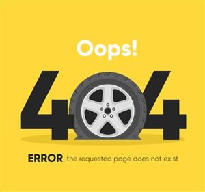 创意404错误页面漏气的车轮胎矢量图