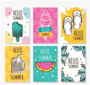 6款彩绘你好夏季卡片矢量素材