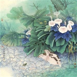 安居樂業工筆花鳥國畫圖片