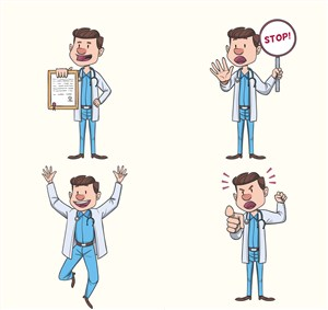 4款手繪搞笑男醫生設計矢量圖