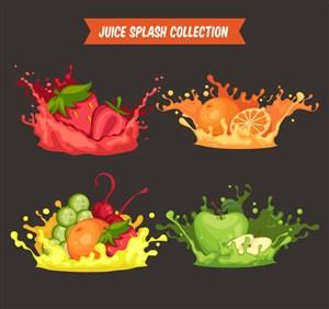 4款彩色动感新鲜水果汁矢量图