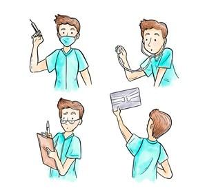 4款彩繪男醫生半身像矢量圖