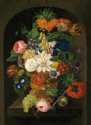 古典花瓶花卉靜物油畫圖片