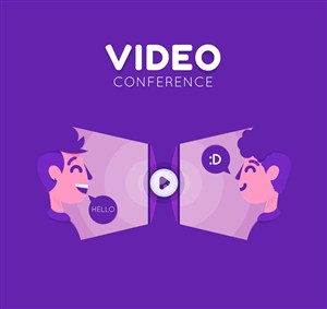 創意視頻會議人物矢量素材