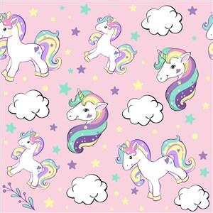 独角兽卡通矢量可爱宝宝生日素材可爱粉色底纹星星