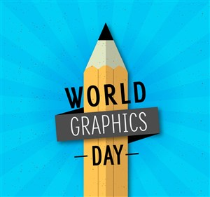 扁平化世界平面設計日鉛筆矢量圖