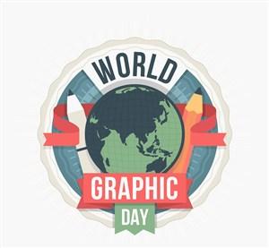 創意世界平面設計日地球矢量圖