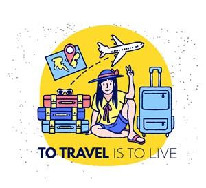 創意手繪旅行女子矢量素材