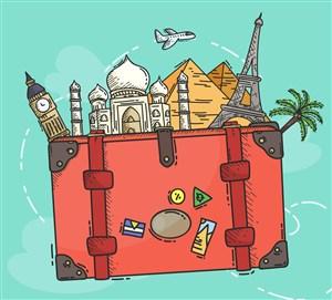 彩繪旅行箱里的旅游景點矢量圖