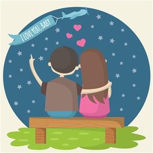 看星星的情侣飞机卡通恋人矢量素材