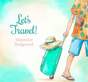 彩繪拉行李箱的旅行人物矢量圖