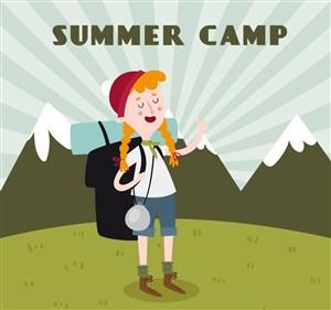 創意夏季野營的背包女子矢量素材