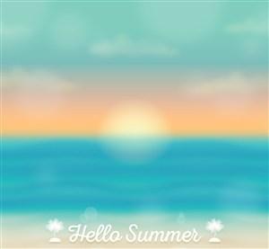 梦幻夏季海上日出风景矢量素材