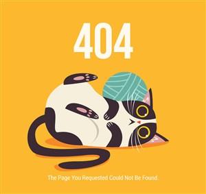 创意404错误页面猫咪和线团矢量图
