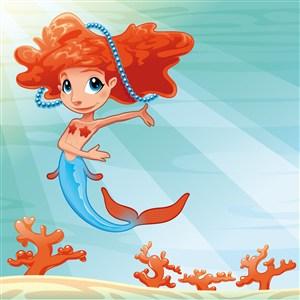 卡通美人魚設計矢量素材