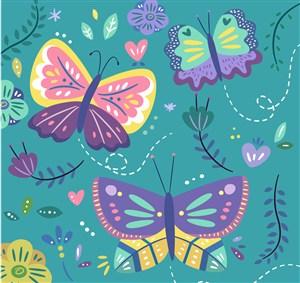 3只彩色蝴蝶和花卉矢量素材_