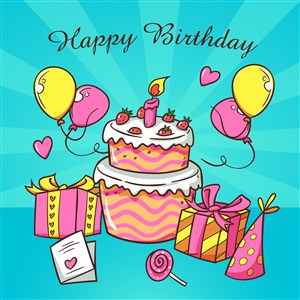彩绘生日派对气球和蛋糕礼物糖果生日蜡烛生日帽贺卡矢量图