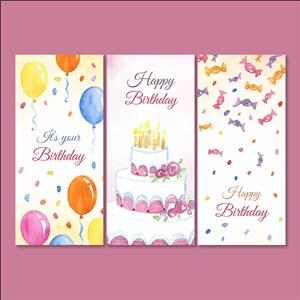 彩绘生日快乐banner矢量素材蛋糕糖果气球生日蜡烛happy birthday