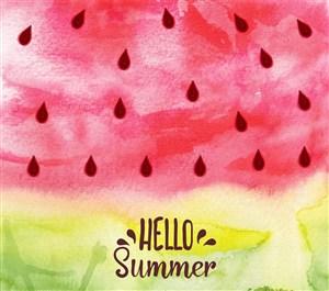 水彩绘夏季西瓜图案矢量素材