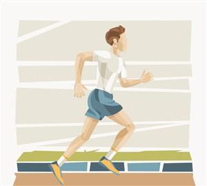 彩繪跑步健身的男子矢量素材