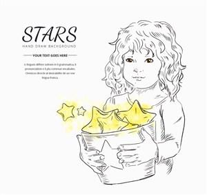 彩繪抱裝滿星星桶的女孩矢量圖