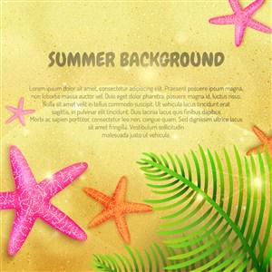 沙灘上的彩色海星和棕櫚樹葉矢量圖
