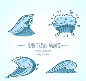 4款藍色海浪設計矢量素材