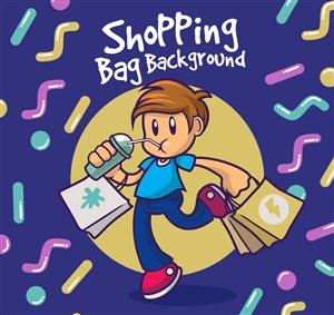 卡通雙手提滿購物袋的男子矢量圖