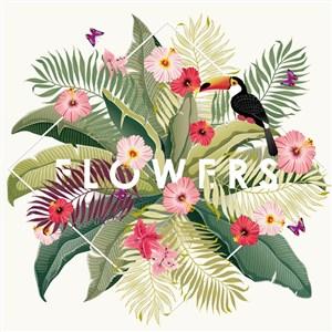 复古热带花卉和大嘴鸟矢量素材