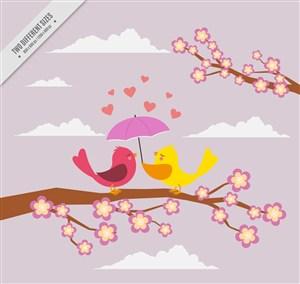 创意花枝上打伞的情侣小鸟矢量图