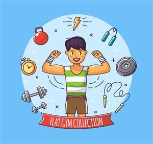 彩繪健身男子設計矢量素材