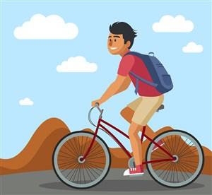 創意郊外騎單車的男子矢量素材