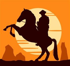 創意駿馬上的西部牛仔剪影矢量素材