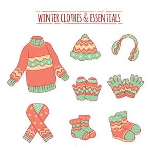 8款冬季花紋服飾與配飾矢量圖