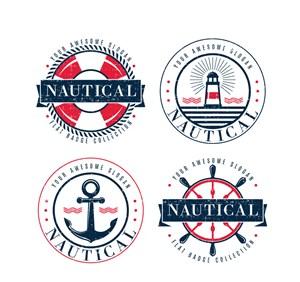 4款做旧效果航海徽章矢量图