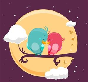 夜晚树枝上的情侣鸟矢量图