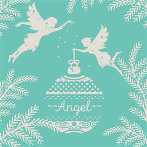 做舊效果圣誕天使和吊球矢量圖