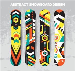 4款创意滑板设计矢量素材
