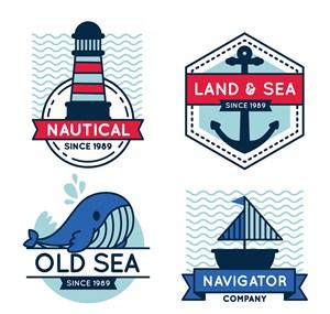 4款創意航海標簽矢量素材
