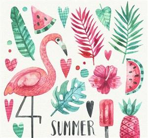 18款手繪夏季花草和火烈鳥矢量圖