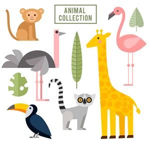 6款扁平化野生动物矢量素材