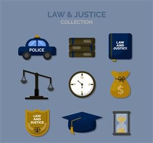 9款精致法律元素圖標矢量圖