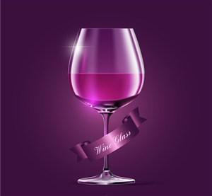 精美紫色葡萄酒杯矢量素材
