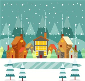 冬季小城建筑和湖泊矢量图