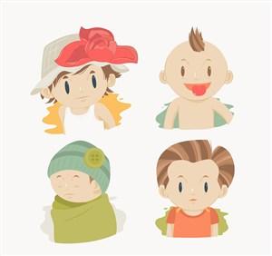 4款卡通男孩頭像矢量素材