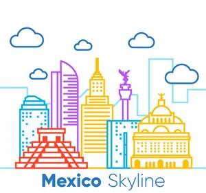彩绘墨西哥著名建筑矢量素材