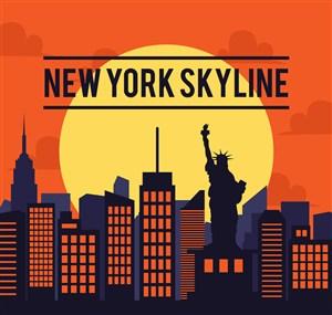 时尚纽约建筑剪影矢量素材