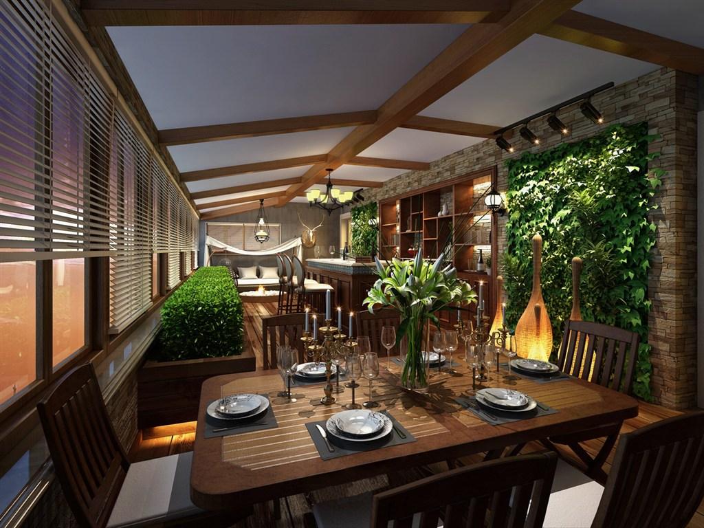 森林派美式风格餐厅装修效果图