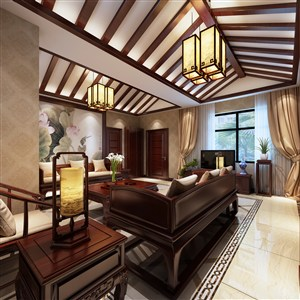 两室两厅新中式风格客厅装修效果图
