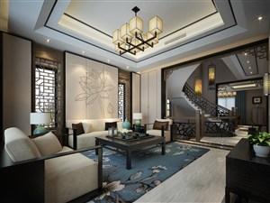 各种特色中式家具装饰的别墅客厅装修效果图